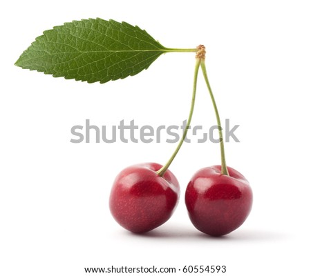 Two red cherries isolated on a white background
