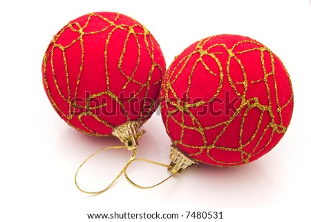two red Christmas balls on white background
