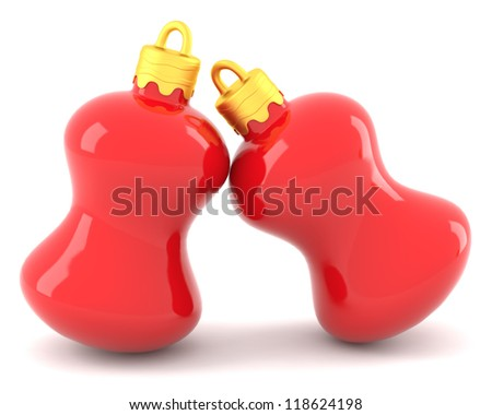 Two red christmas baubles isolated on whtie background