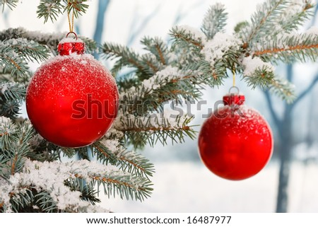 Two Red Christmas baubles on a snowy scene