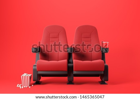 Two red cinema chairs with fizzy drink and box of popcorn over red background. Concept of entertainment. 3d rendering