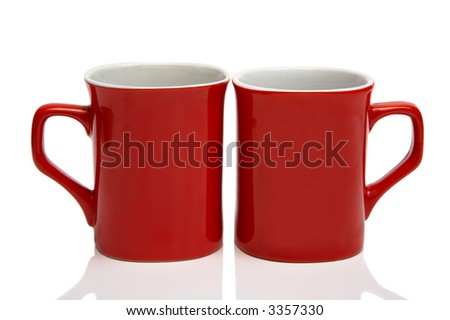 Two red cups on a white background