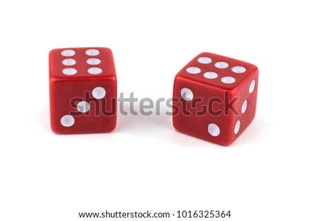 Two red dice, close-up isolated on white background. Two sixes. #1016325364