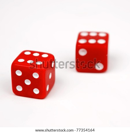 Two red dice isolated on white background #77354164