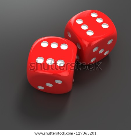 Two red dice with number six #129065201