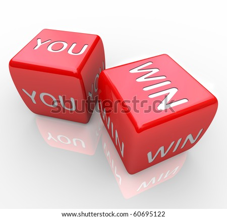 Two red dice with the words You Win on them