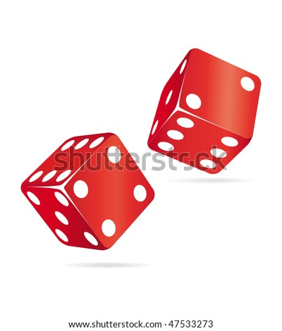 Two red dices. Casino icons. - stock photo