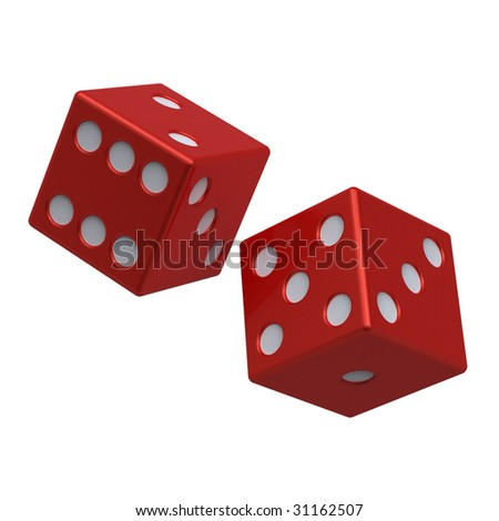 Two red dices isolated on white. Computer generated 3D photo rendering.