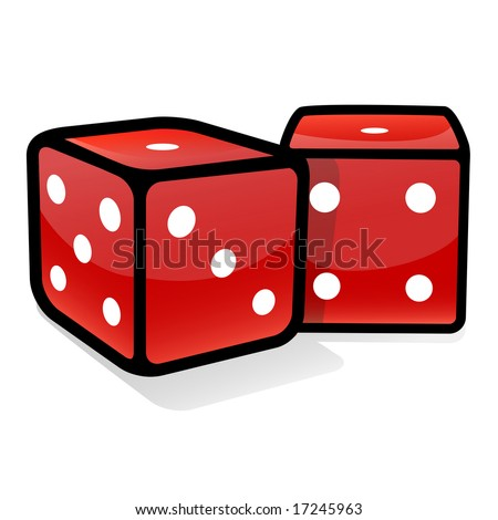 two red dices, on white background
