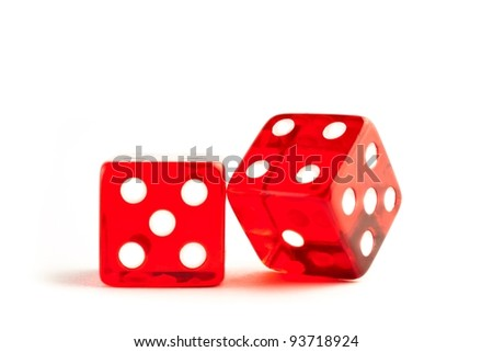 two red dices on white background