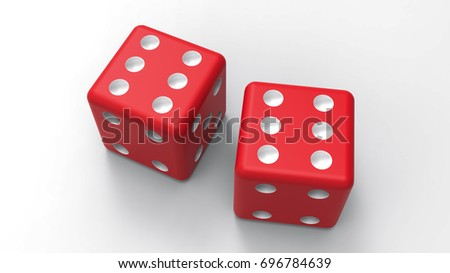 Two red dices with six dots on white desk. 3D rendering #696784639