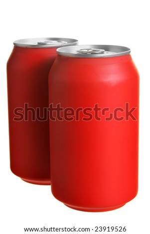 Two red drink cans isolated over white background