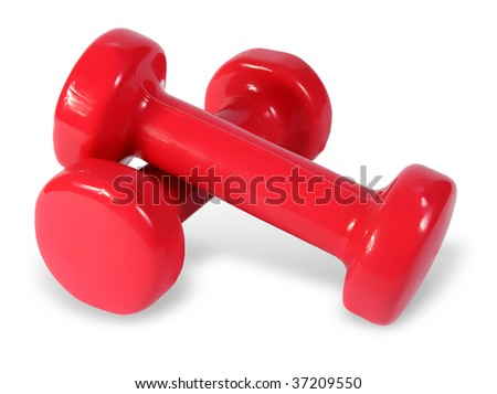 Two red dumb-bell on the white background. (isolated)