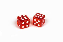 Two red glass dice isolated on white background. Six and six
