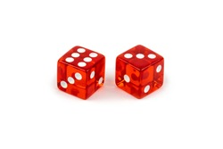 Two red glass dice isolated on white background. Six and three.