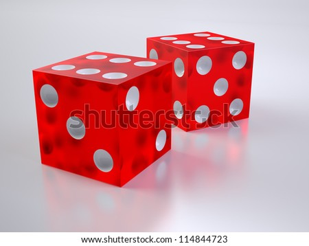 Two red glass dices on white golssy material