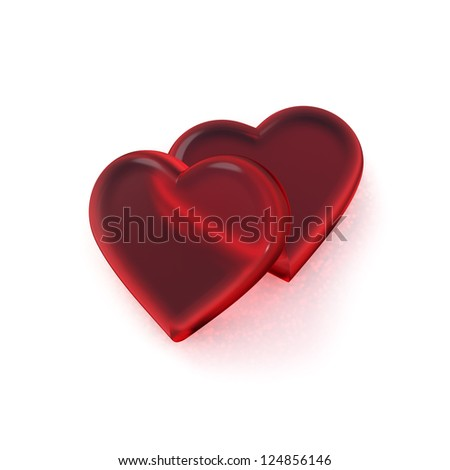 Two red glass hearts on a white background.