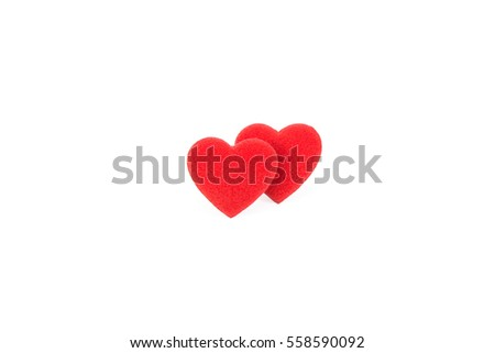 two red heart bright color on white background #558590092