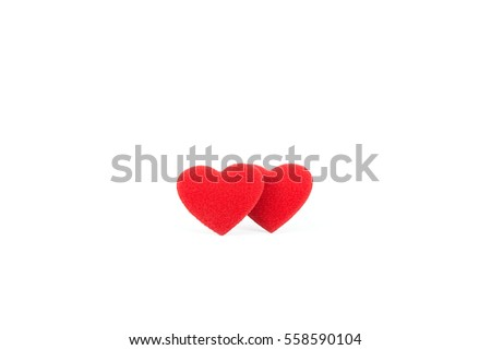 two red heart bright color on white background #558590104