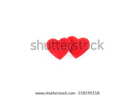 two red heart bright color on white background #558590158