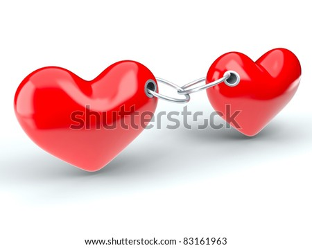 Two red hearts constrained a metallic chain