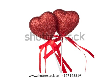 two red hearts for Valentine's Day