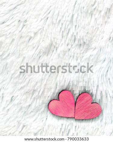 Two red hearts on fur white background. Composition for Valentines day or wedding. Place for text. Copy space #790033633
