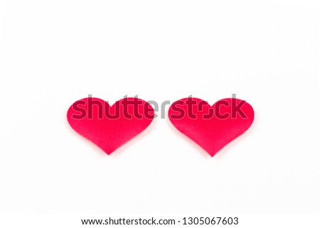 Two red hearts on white background for Valentine's day #1305067603