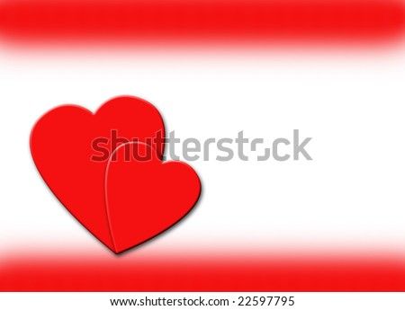 Two red hearts over a white background with a red border.
