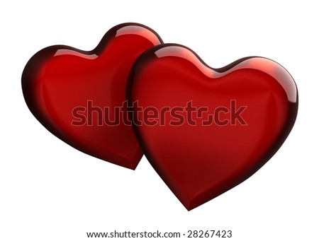 Two red hearts overlapping on white background