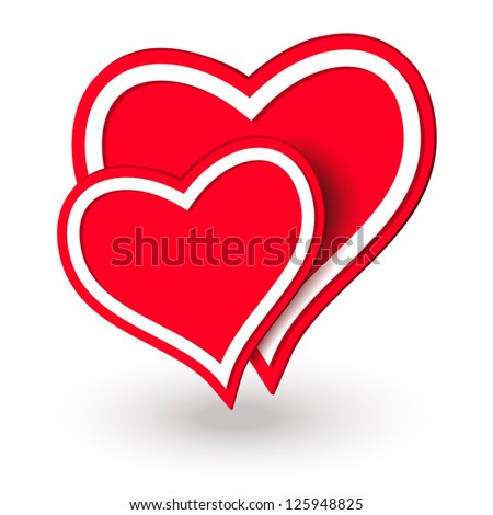 Two red hearts.  Raster version of vector.