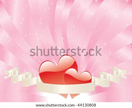 two red hearts with banner on shiny pink sunburst background