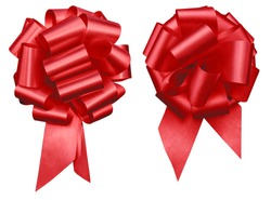two red holiday decretive pull bow cluster issolated on white background mothers day, Christmas, Valentine's Day and events