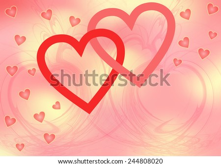 Two red intertwined big open hearts surrounded with smal pink hearts on a pink yellow patterned background with a large copy space