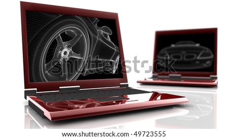 Two red laptop with a wireframe car on the monitor
