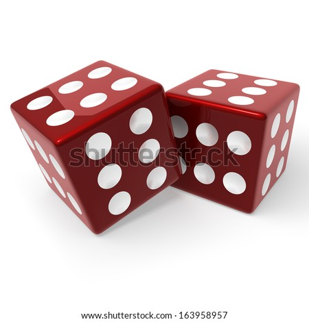 Two, red loaded dice, every face showing six pips, 3d rendering isolated on white background Stock photo ©