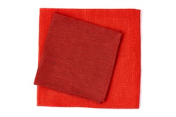 Two red napkins on white