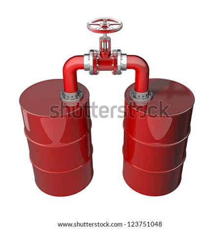 Two red oil barrels with valve isolated on white background 3D High resolution