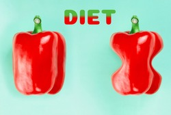 Two red paprika peppers on a turquoise background. The Inscription Diet. The concept of diet and weight loss, before and after