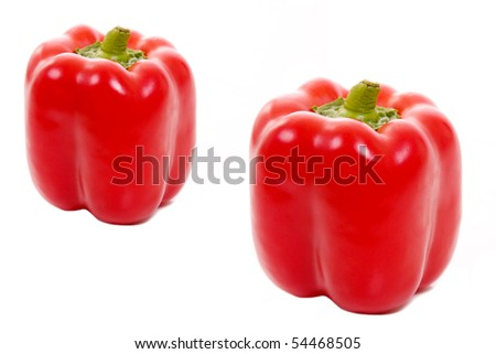 Two red paprikas isolated on white, studio shot Photo stock ©