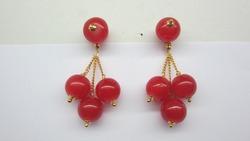 Two red pearl  golden earrings