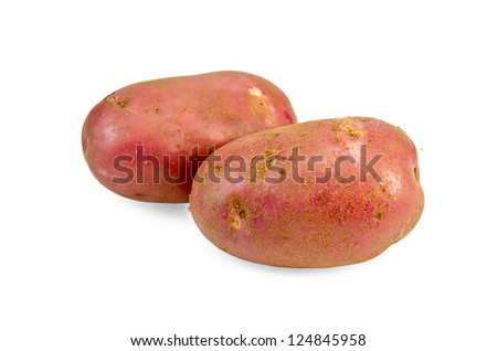Two red potatoes isolated on white background