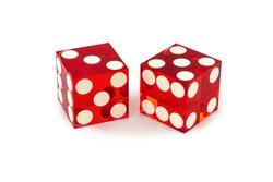 Two red professional game dice closeup isolated on a white background / three and five with a light shadow