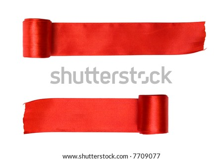 Two red ribbons. Isolated on white.
