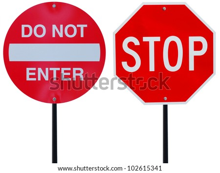 two red road signs on driving