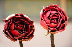 two red roses made of iron