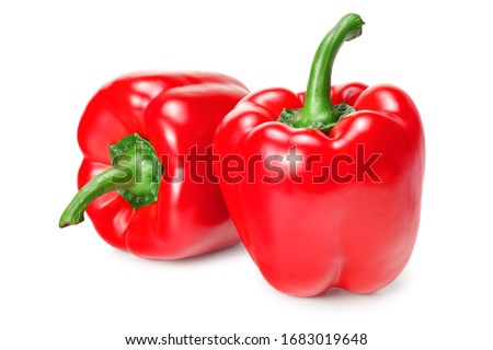 two red sweet bell peppers isolated on white background Stockfoto ©