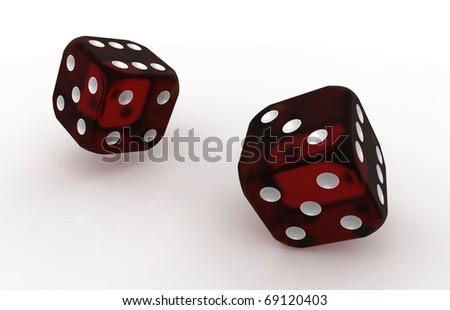 Two red translucent plastic dices isolated on white background
