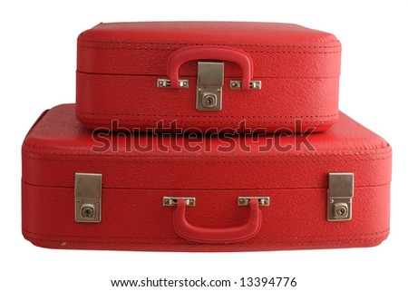 Two red vintage suitcases - stock photo