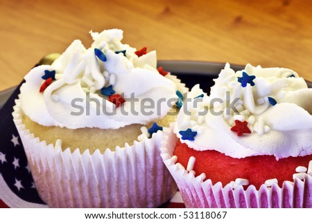 two red,white and blue 4th of july cupcakes